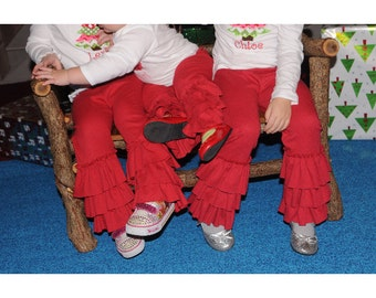 Ruffled leggings Matilda Jane inspired red and many colors size Newborn to tween 16