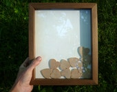 """Baby Shower Guest Book - Wooden Hearts - 8x10"""" Walnut Shadowbox Frame - up to 40 guests"""