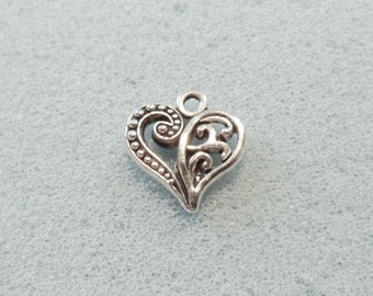 8 filigree heart charms - double sided - tibetan silver - 13mm x 13mm - tibet silver charm - silver heart charm - tibetan silver heart