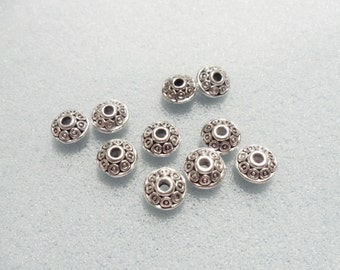 10 bicone spacer beads - 6mm x 4mm - silver plated - 2mm hole - silver plated spacer bead - silver spacer bead