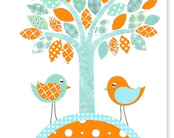 Bird Nursery Art Orange and Aqua Tree Nursery Decor Baby Boy's Room Wall Art Print Baby Shower Gift Playroom Toddler 8 x 10 or 11 x 14