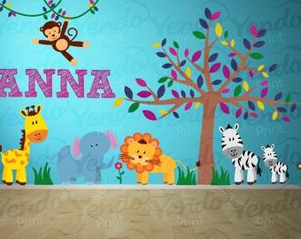 Jungle Wall Decal - Jungle Animal Decals - Safari Wall Decals - Name Wall Decal