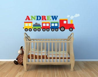 Train Decal- Name Decal - Wall Decal -Name Decal - Train Wall Decal- Transportation Decal - Boy Decal - Nursery Wall Decal - Wall Decals