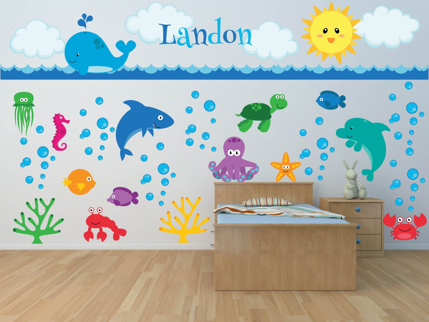 nursery wall decals sea animal wall decal ocean wall. Black Bedroom Furniture Sets. Home Design Ideas
