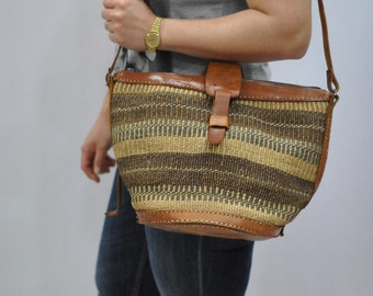 Vintage Leather bag , tribal pattern bag , vintage handmade bag...(275)