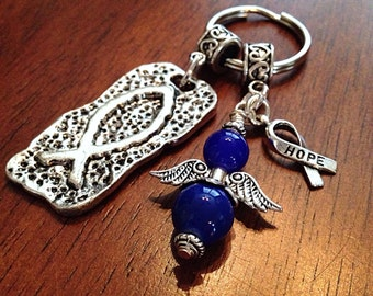 Colon Cancer Awareness Month is March, Keychain with a Blue Angel and Silver Fish Pendant