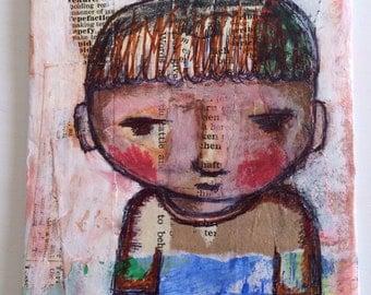 MIXED MEDIA BOY Original Art Painting Portraits