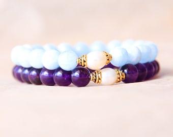Buddhist Mala Bracelet Set, Spiritual Jewelry, Wrist Mala Beads, Yoga Bracelet Stack, Aquamarine, Amethyst & Freshwater Pearl