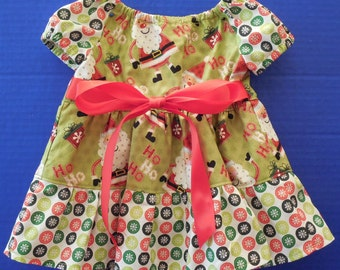 Newborn Infant Toddler Christmas Peasant Dress/Top with Pants Set Outfit
