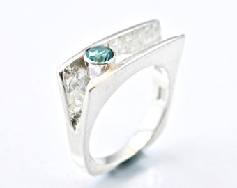 Unique Green Topaz Ring, One of a KInd, Artisan Jewelry, Sterling Silver, Unusual RIng, Handcrafted, Contemporary RIng,