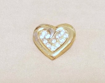 Vintage 80's Gold & Rhinestone Studded Curled Heart Lapel Pin Brooch, Romantic Classic Style Simple Elegant Cute Ladies Pin Love Sparkle