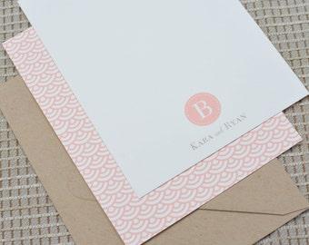 Peach Monogram Personalized Flat Notecards