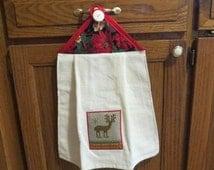 Christmas Kitchen Towel, Hanging Kitchen Towel, Hanging Dish Towel, Tie Towel