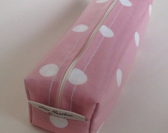 Makeup bag pencil case in pink spotty oilcloth