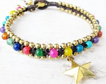 Multi Color Beaded Woven Bracelet with Star Charm