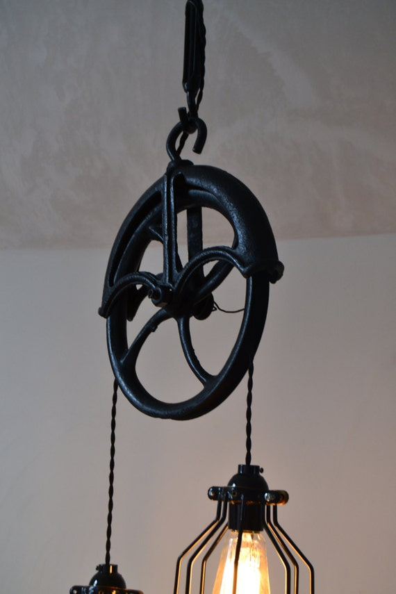 Re-purposed Barn Pulley Industrial Light