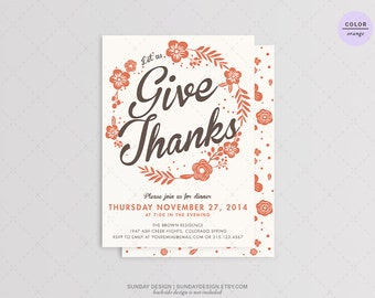 Lovely Days Thanksgiving Invitation - DIY Printable - Floral Thanksgiving Dinner Party