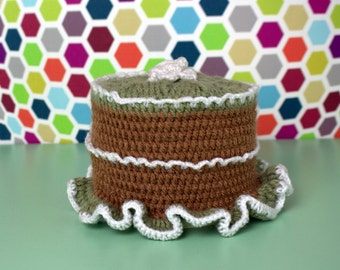 Toilet roll crochet Hat olive green - light brown