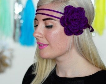 Crochet Rose Double Headband