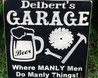Personalized garage/mancave sign 12x12- handmade-wood