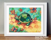 Nursery Wall Decor, Art for Kid's Room, Patchwork Turtle: hand signed art print - JennyDaleDesigns