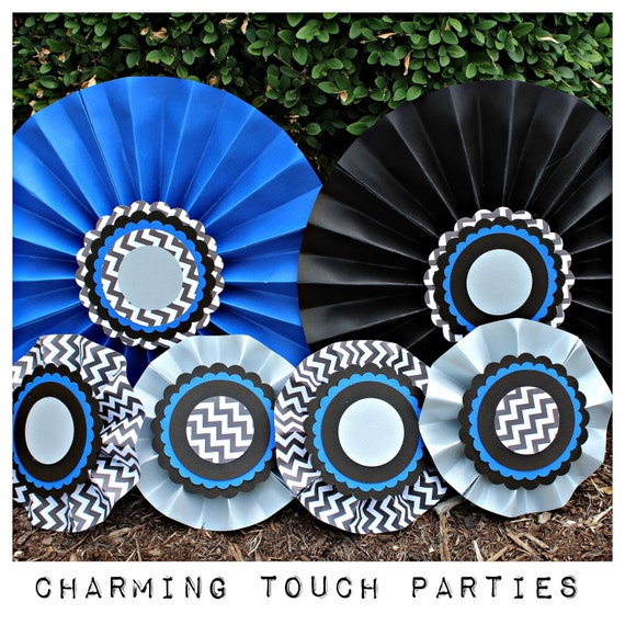 40th Birthday party decor. Blue and black party decor / rosettes ...