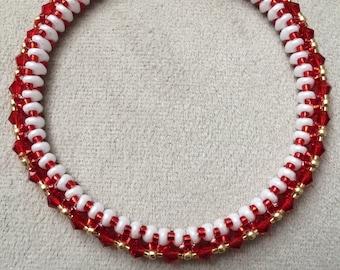 Red and White Bangle Bracelet