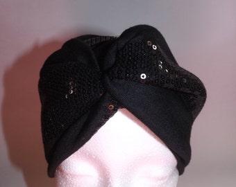 Black Sequin Turban Headband