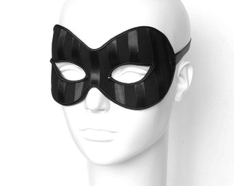 Satin Striped Black Masquerade Mask -  Venetian Style Masquerade Ball Mask