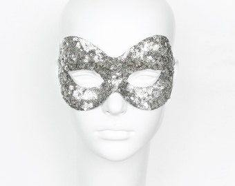 Silver Sequin Masquerade Mask - Shimmering Venetian Style Halloween Mask - For Masquerade Ball, Prom, Costume Party, Wedding, Mardi Gras