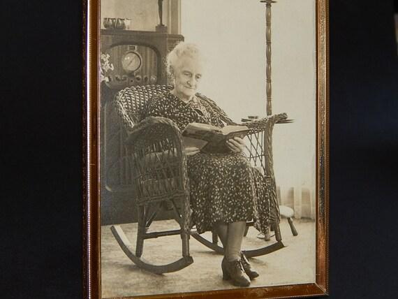 Quot grandma in wicker chair rocking