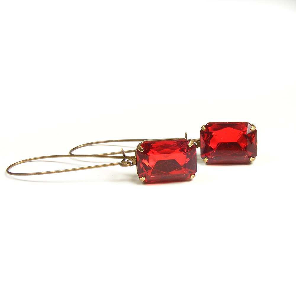 Bright Red Jewel Earrings with Vintage Rhinestones, Vintage Inspired Red Old Hollywood Estate Style Drop Earrings, Long