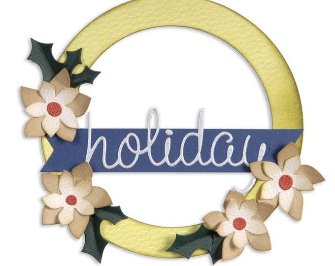 Sizzix Bigz L Die - Wreath, Banner, Holly & Poinsettia by Basic Grey 659997