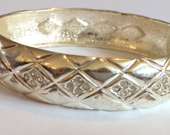 Silver Tone Criss Cross Clamper Bangle, Silver Crystal Clamper Bangle, Silver Tone Etched Bangle