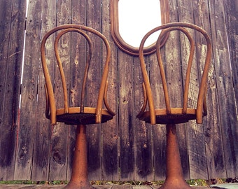 SALE-Antique Gilt Bentwood Cane Thonet Style Swivel Chairs/ Antique Bar Stools on Steampunk Iron Bases