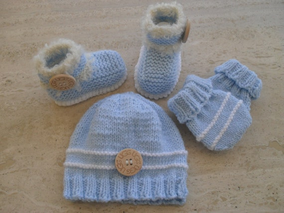 Knitted Baby Boy Hat Patterns : Instant Download Knitting Pattern Baby Boys Booties Hat