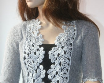 Wedding Bridal Bolero Shrug Lace Crochet Shrug Boleros Mohair Grey Silver