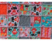 "Hello Tokyo Rag Quilt TWIN – Kokeshi Doll – Hand Bound  – Fully Reversible – 68"" x 88"""