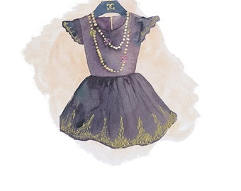Print of original watercolor illustration -'favorite dress'