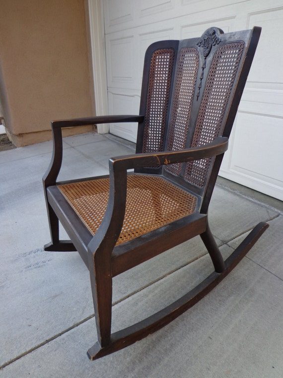 handsome victorian style cane rocker rocking chair glider antique armchair nursery baby seating rustic vintage shabby baby nursery rockers rustic