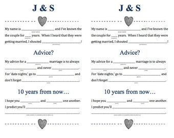 Personalized Wedding Madlibs