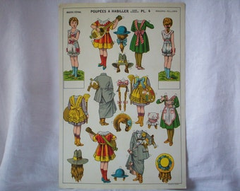 Vintage French Paper Doll Page, Never Used, Excellent Condition