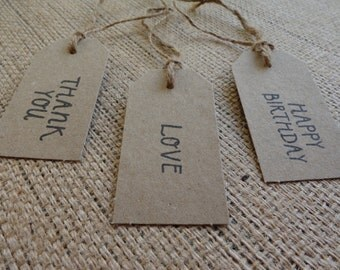 10 Natural Brown Kraft Bomboniere Tags- Stamped
