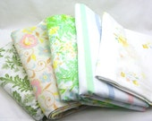 SALE - Vintage Sheet Remnants, Scrap Pack, Crafting Fabric - Assorted Pastels