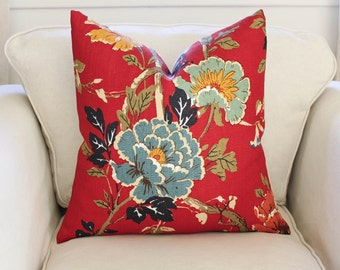 G P & J Baker Atsuko Pillow Cover in Red/Gold