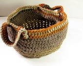 jute wool basket tote, crochet tote basket, natural brown tote, home decor, market basket,