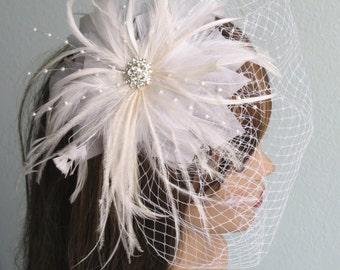 Wedding Head Piece  Fascinator Wedding AccessoryFeathers Brooch Vail Bridal Accessory