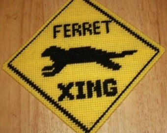 Ferret Xing Plastic Canvas Sign Pattern