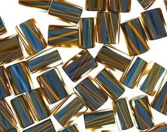 Furnace Glass Beads, Rich Blue with Brown Stripes, Medium mixed size by Virginia Wilson Toccalino, 1 oz