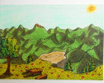 Mountain Landscape art print - ink and pencil print from original artwork 'Path towards the Sun'